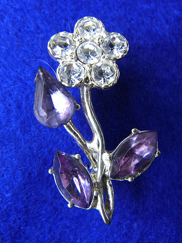 【アクセサリー】ロンドン買い付け ブルー X シルバー ライトストーン 花モチーフ アンティーク ブローチ 09UK1026【ヨーロッパ古着】