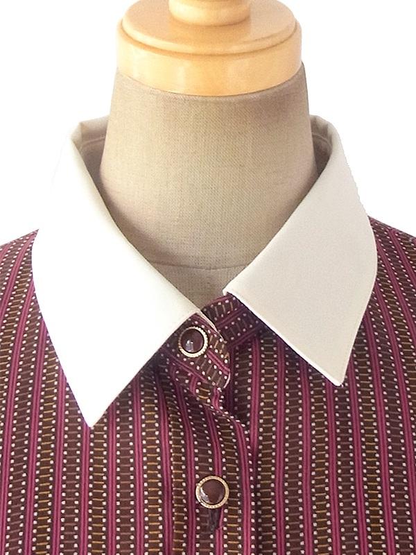 ヨーロッパ古着 ロンドン買い付け 70年代製 ブラウン X レッド レトロ柄 ホワイト襟 プリーツ ワンピース 09UK1712