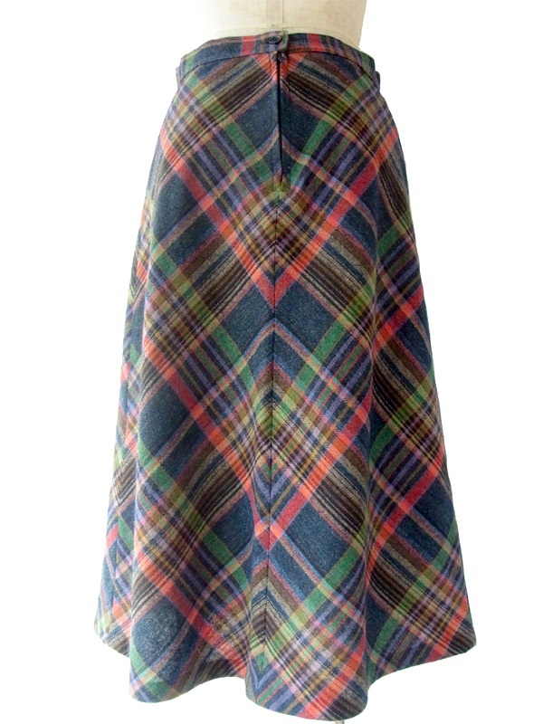 ヨーロッパ古着 ロンドン買い付け ミックスカラー X チェック柄 ヴィンテージ スカート 09UK855