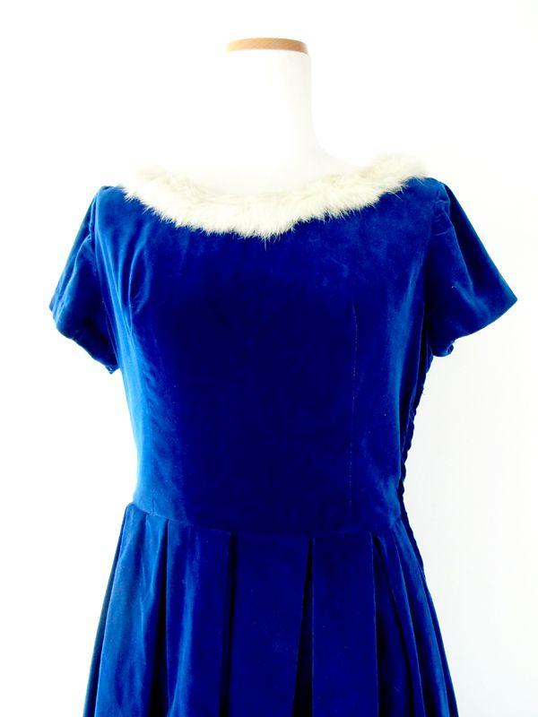 ヨーロッパ古着 フランス買い付け ブルー ベルベット ファー衿 ヴィンテージ ワンピース 13FC520