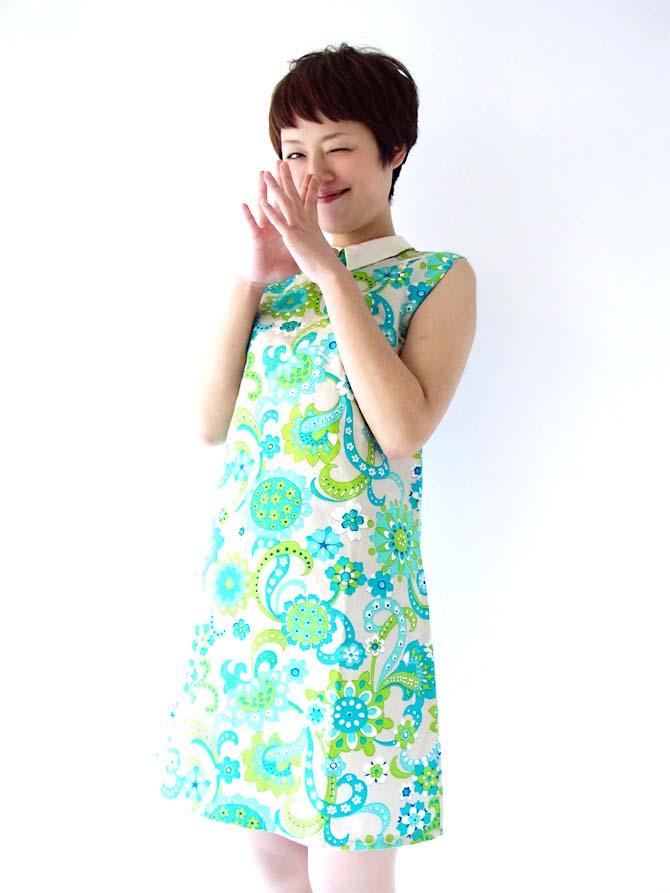 【送料無料】フランス買い付け グレイXブルー・グリーン 花柄プリント ヴィンテージ ワンピース【ヨーロッパ古着】
