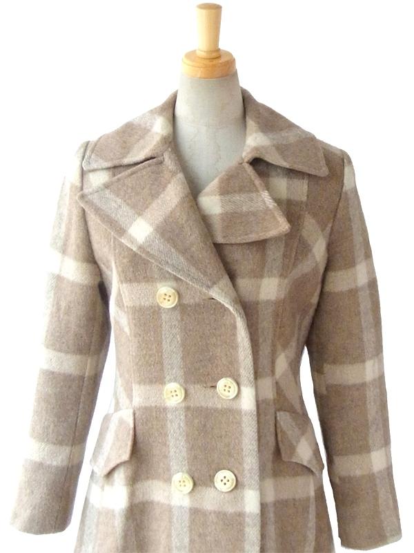 ヨーロッパ古着 ロンドン買い付け 60年代製 ブラウン X アイボリー チェック柄 ヴィンテージ ウールコート 13SP3
