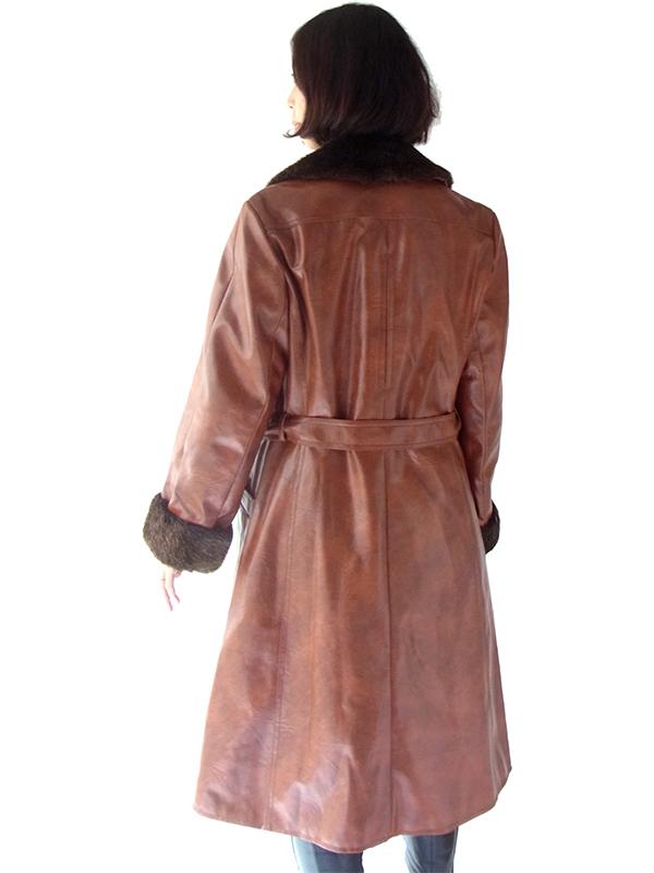 ヨーロッパ古着 ロンドン買い付け 60年代製 ブラウン X ラビットファー襟・袖 ヴィンテージ レザーコート 15BS322