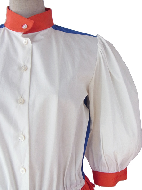 ヨーロッパ古着 ロンドン買い付け 60年代製 ホワイト X レッド X ブルー レトロデザイン ワンピース 15BS414