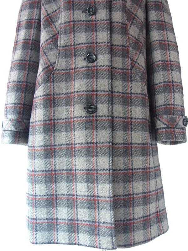 【送料無料】ロンドン買い付け グレイ X ブラック・レッド・水色 チェック柄 ウール コート 15BS432【ヨーロッパ古着】