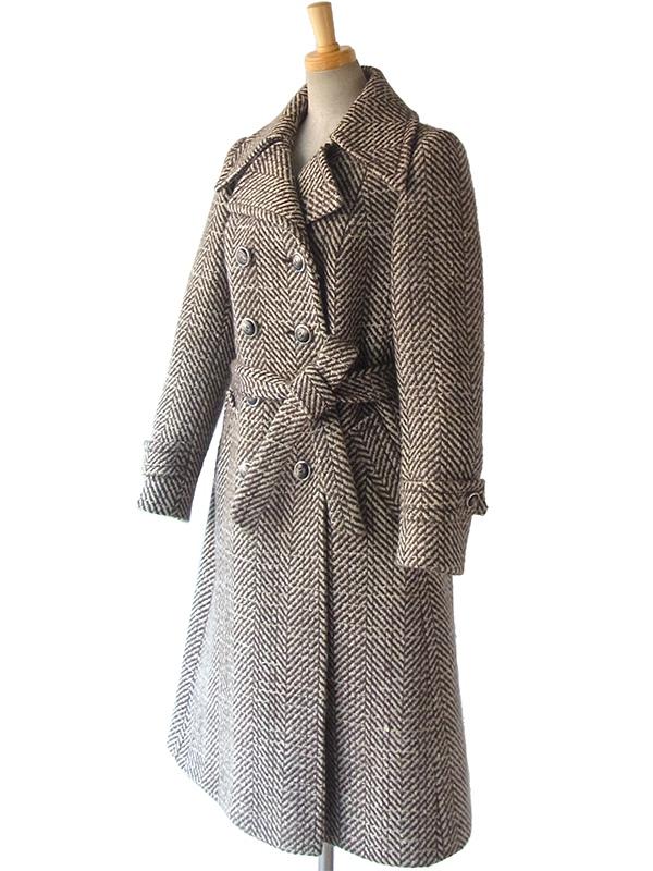 ヨーロッパ古着 ロンドン買い付け 60年代製 ホワイト X ブラウン クラシカルシルエット 厚手ツイード ウールコート 15BS437