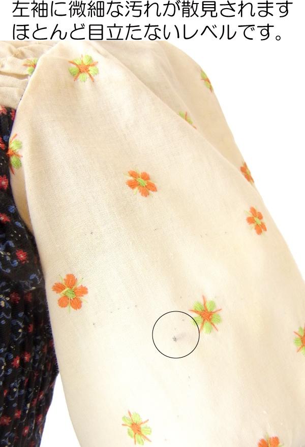 ヨーロッパ古着 フランス買い付け 60年代製 ベージュ X ネイビー 生地切替 花柄刺繍 ふんわり ワンピース 15FC232