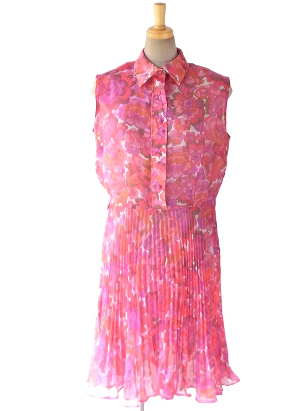 ヨーロッパ古着 ロンドン買い付け 60年代製 ピンク X パープル シフォン生地 レトロ花柄 プリーツ ワンピース 16BS203