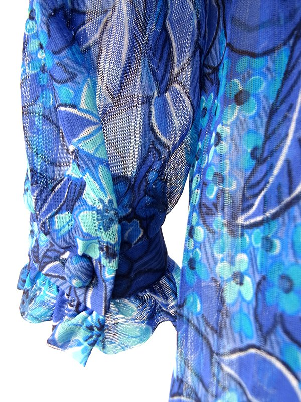 【送料無料】ロンドン買い付け  美しいロイヤルブルー X 花柄 ギャザー襟 共布ベルト付き ヴィンテージ ワンピース 16BS204【ヨーロッパ古着】