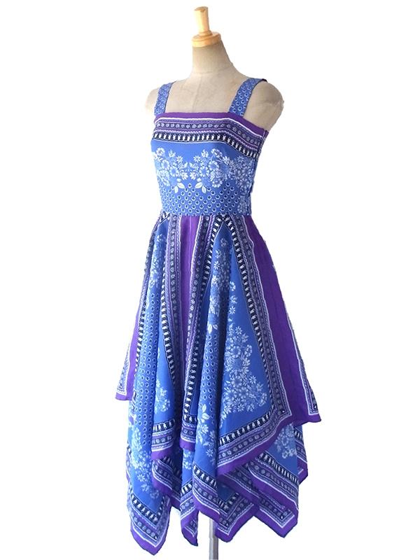 ヨーロッパ古着 ロンドン買い付け 60年代製 ブルー X パープル 花柄 零ヤードスカート ヴィンテージ ワンピース 16BS205