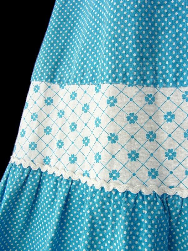 【送料無料】ロンドン買い付け 水色 X ホワイト 水玉・花柄 山道テープ ストラップ ワンピース 16BS208【ヨーロッパ古着】