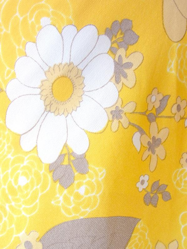 ヨーロッパ古着 ロンドン買い付け 70年代製 イエロー X ホワイト・グレイ 花柄 レトロ ワンピース 16BS222