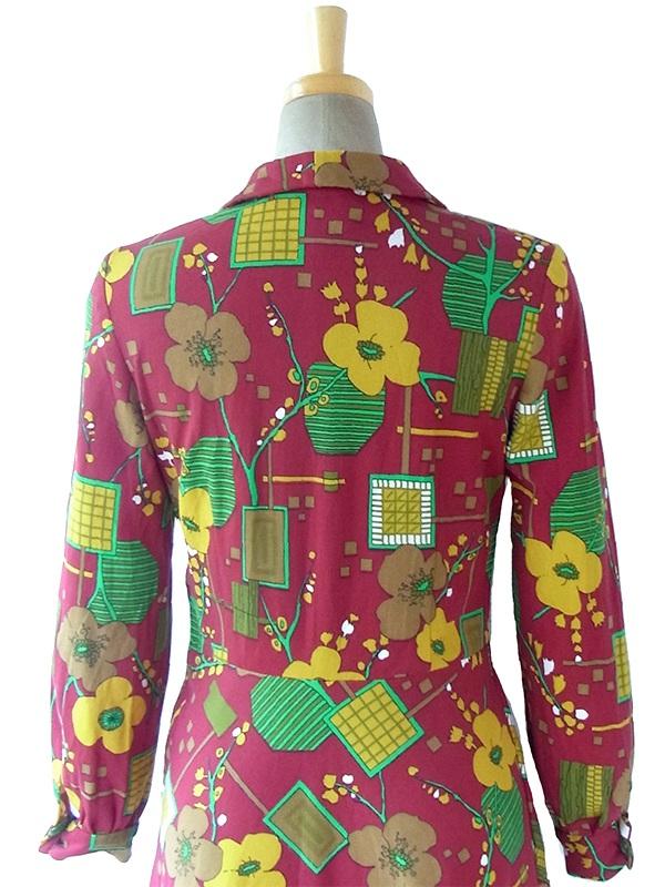 ヨーロッパ古着 ロンドン買い付け 60年代製 ブラウン X カラフル レトロ花柄 ヴィンテージ ワンピース 16BS408