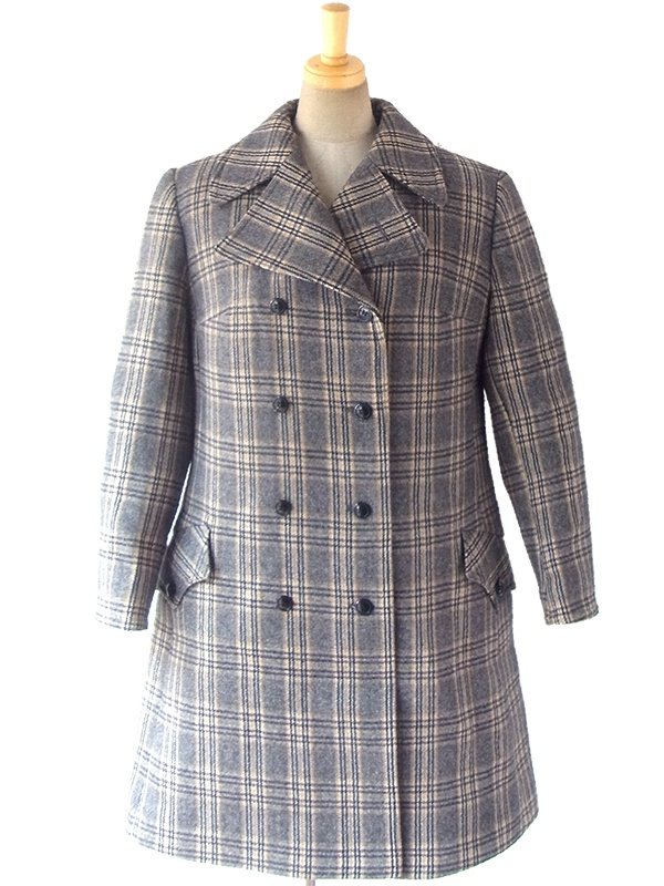ヨーロッパ古着 ロンドン買い付け 60年代製 グレンチェック ヴィンテージ ウール ツイード コート 16BS421