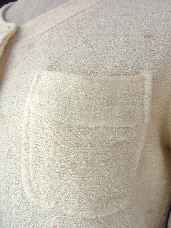 ヨーロッパ古着 70年代フランス製 Dellos 生成り色に淡いブラウンが織りませられた タオル生地 ワンピース 16FC015