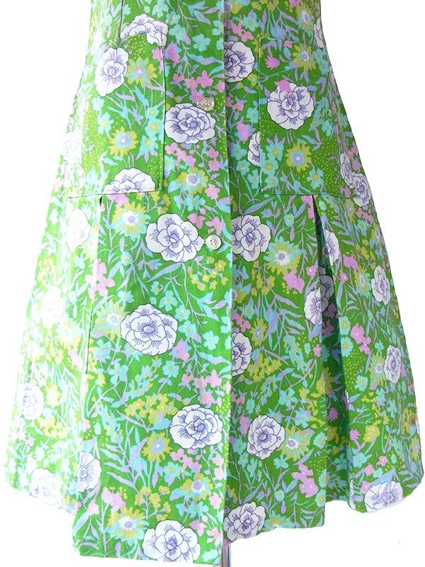 ヨーロッパ古着 フランス買い付け 60年代製 グリーン X カラフル 花柄 ドロップウェスト ポケット付き ヴィンテージ ワンピース 16FC107