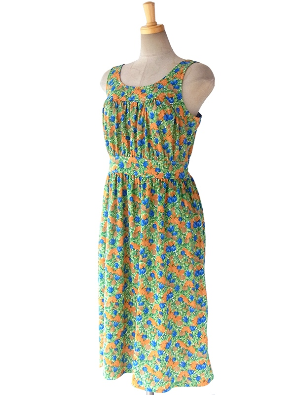 ヨーロッパ古着 フランス買い付け グリーン X オレンジ・ブルー 鮮やかな花柄 ヴィンテージ サマーワンピース 16FC112