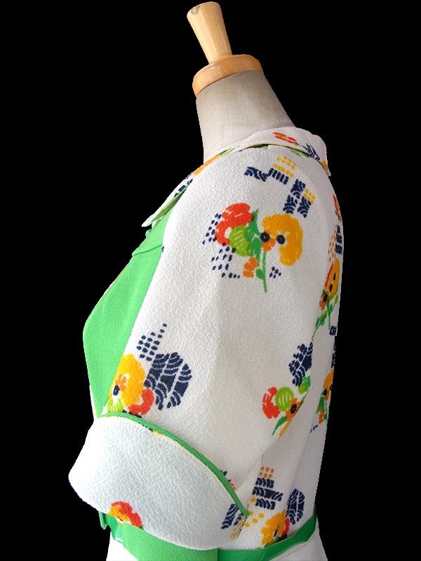 ヨーロッパ古着 フランス買い付け 60年代製 クリーム X ライムグリーン 生地切り返し 花柄プリント ベルト付き ワンピース 16FC200