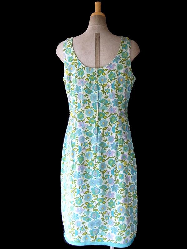 ヨーロッパ古着 フランス買い付け 60年代製 ホワイト X カラフルな花柄 裾元に水色テープ ヴィンテージ ワンピース 16FC207