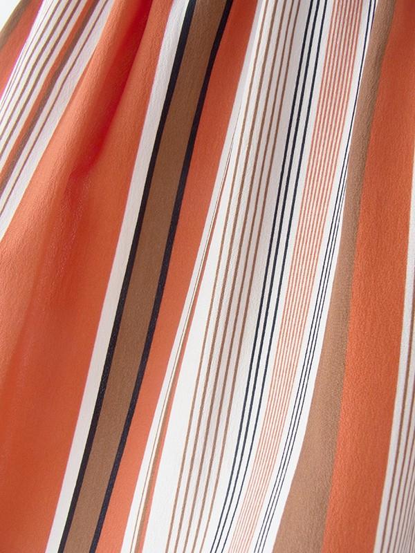 ヨーロッパ古着 フランス買い付け ダークオレンジ・ブラウン・ブラック ストライプ ウエスト絞り ドルマンスリーブ ワンピース 16FC210