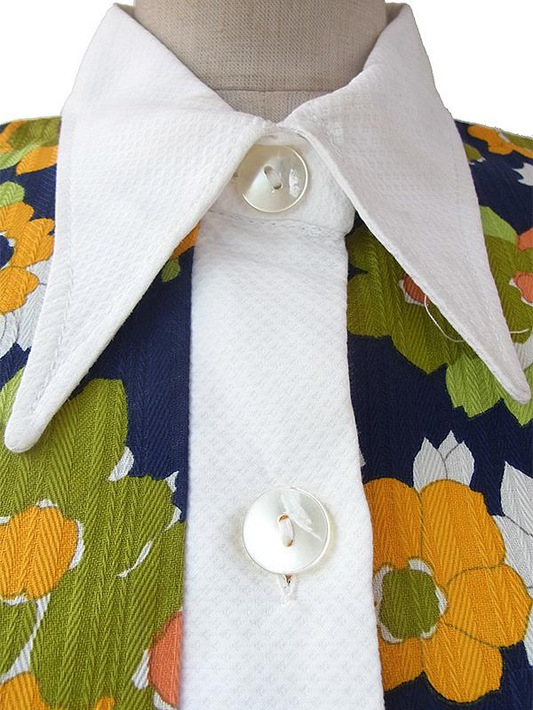 ヨーロッパ古着 フランス買い付け 60年代製 ネイビー X カラフル花柄 ホワイト生地切り返し レトロ ワンピース 16FC211