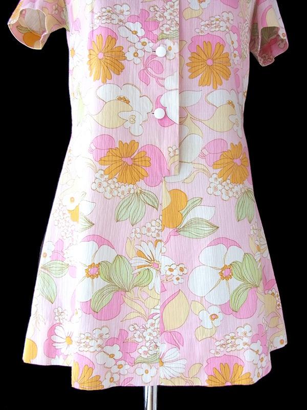ヨーロッパ古着 フランス買い付け 60年代製 ミルキーピンク X 花柄パターン レトロ ミニワンピース 16FC307
