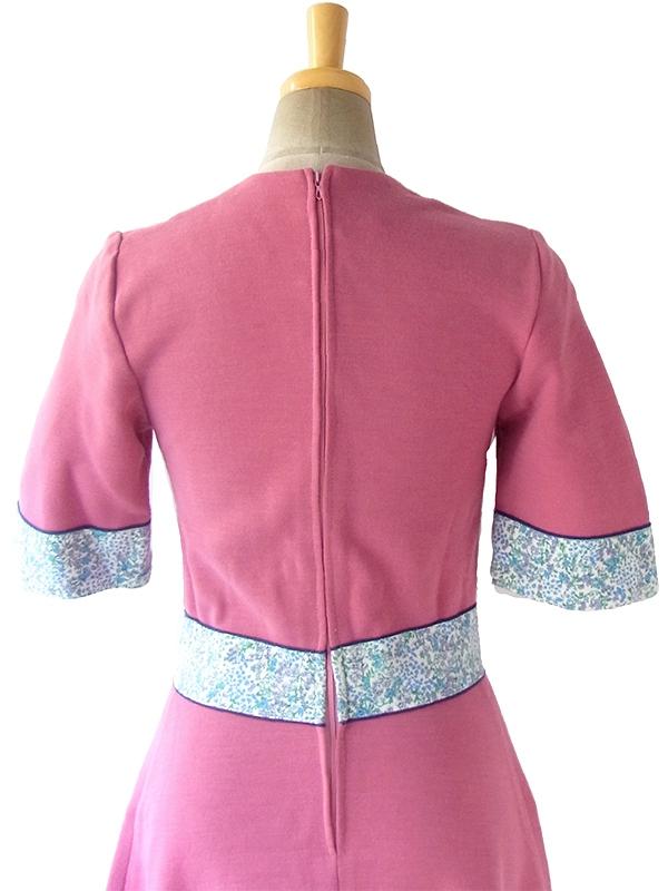 ヨーロッパ古着 フランス買い付け 60年代製 ピンク X ブルーパイピング・小花柄生地切り返し ヴィンテージ ワンピース 16FC506