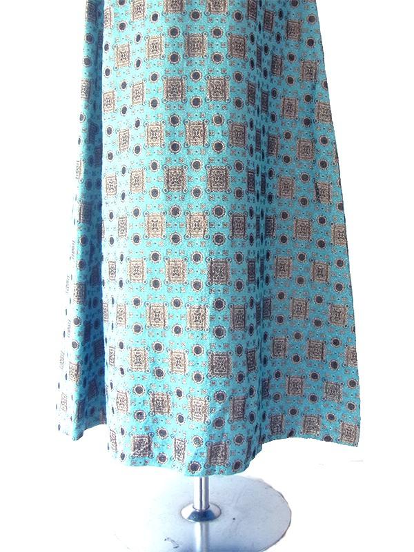 ヨーロッパ古着 ロンドン買い付け 60年代製 シアンブルー X ゴールドラメ ダマスク織り マキシ ワンピース 16OM018