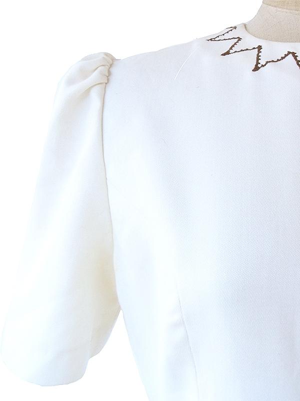 ヨーロッパ古着 ロンドン買い付け 60年代製 ホワイト X ブラウン 千鳥格子のウールスカート 生地切り返しワンピース 16OM1000