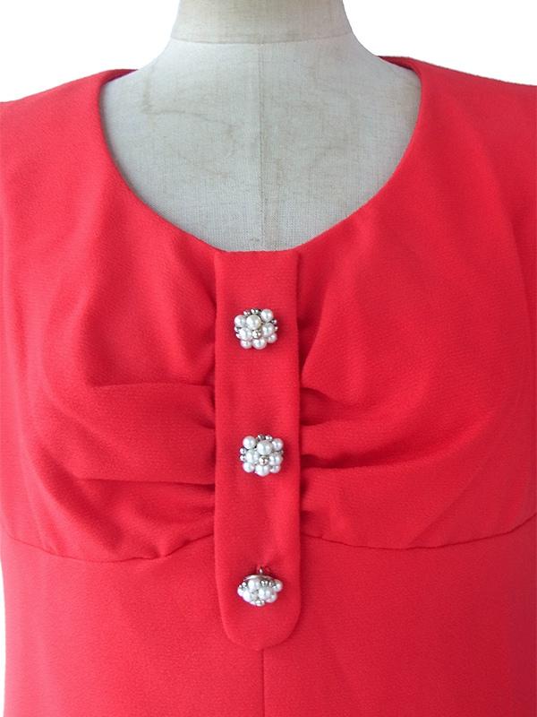 ヨーロッパ古着 ロンドン買い付け 60年代製 真紅 X フェイクパール飾りボタン 胸元ドレープ Aライン ワンピース 16OM1001