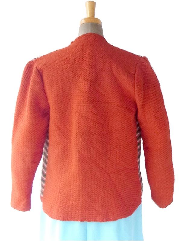 ヨーロッパ古着 ロンドン買い付け オレンジ X グリーン・ホワイト・ブラウン ボーダー ニット カーディガン 16OM1018