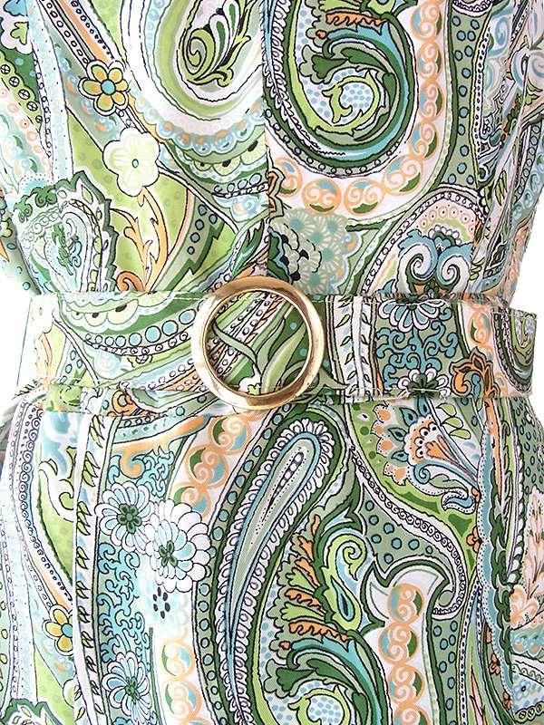 ヨーロッパ古着 ロンドン買い付け 70年代製 グリーンを基調としたペイズリー柄 共布ベルト付き ワンピース 16OM626