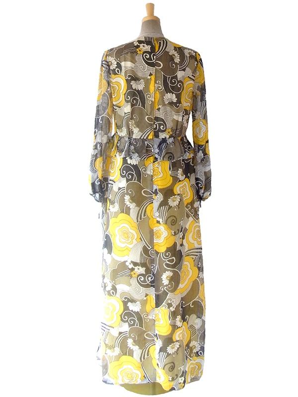ヨーロッパ古着 ロンドン買い付け 60年代製 イエローを基調としたレトロ花柄プリント ぺプラム マキシワンピース 16OM630