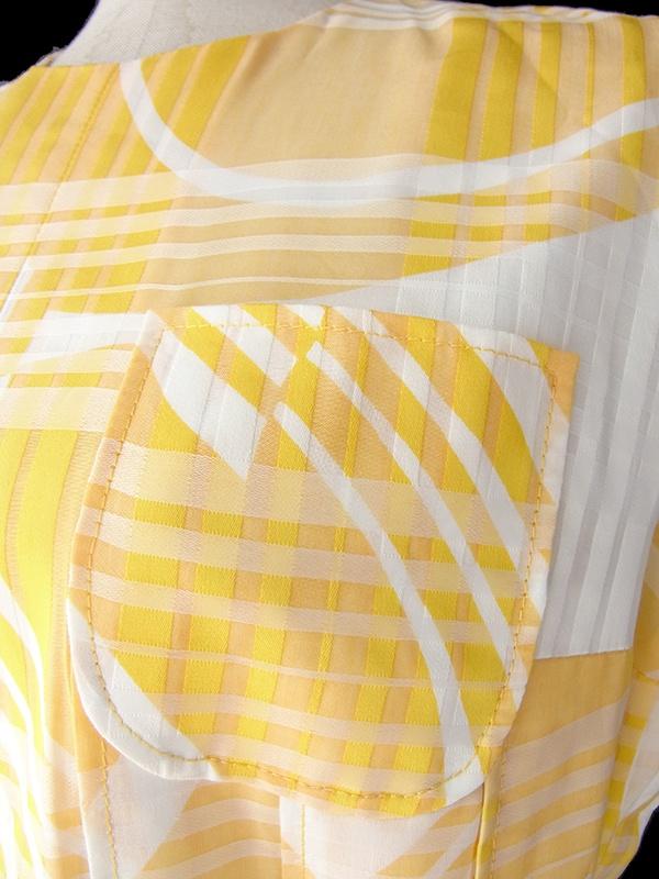ロンドン買い付けイエロー X ホワイト チェック・レトロ柄 共布ベルト付き プリーツ ワンピース 16OM821