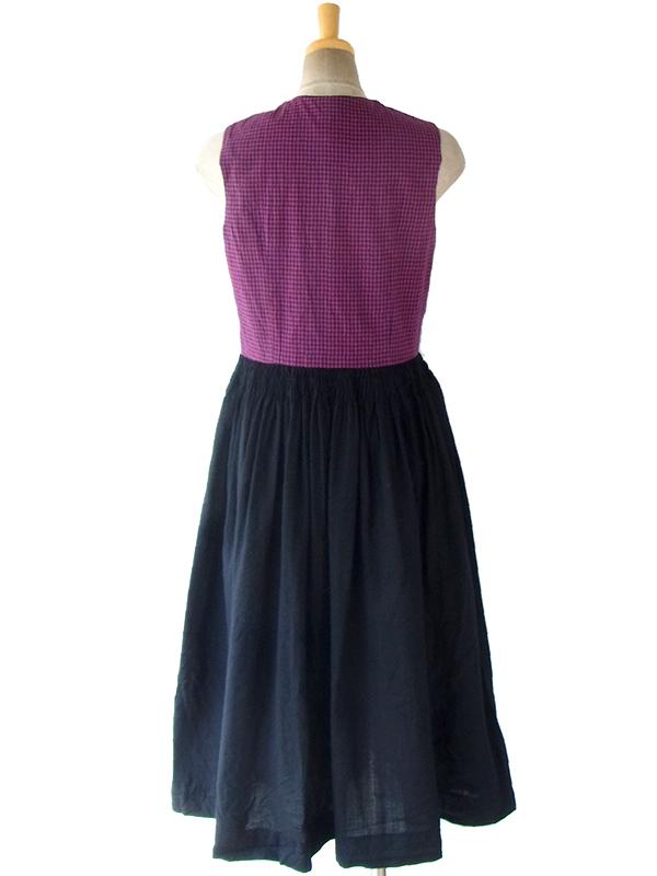 ヨーロッパ古着 ロンドン買い付け 60年代製 レッド・ブルー チェック柄 X ブラック スカート チロリアン ワンピース 16OM919