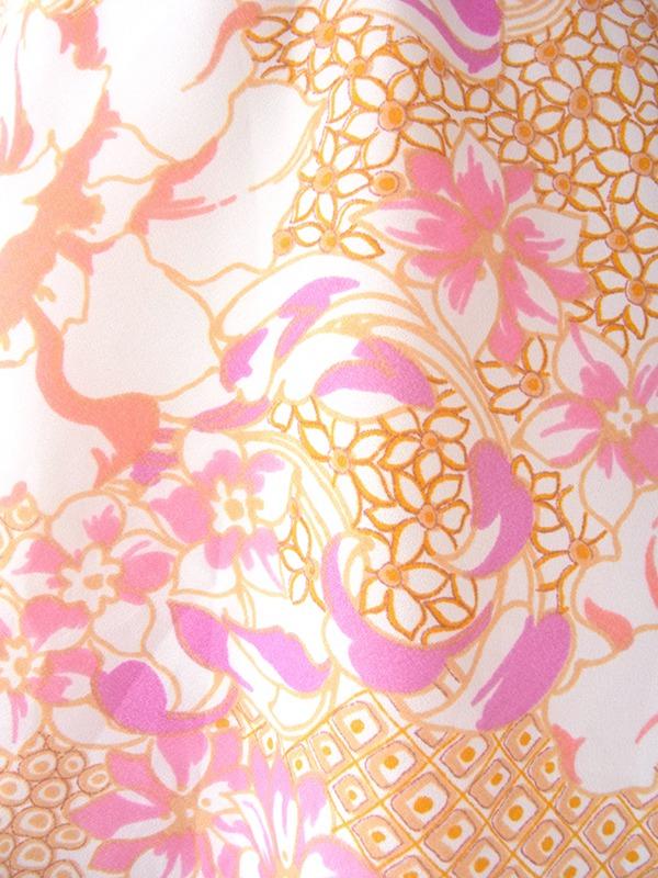 ヨーロッパ古着 ロンドン買い付け ホワイト X オレンジ・ピンク・パープル 花柄 共布ベルト付き レトロ ワンピース 17BS012