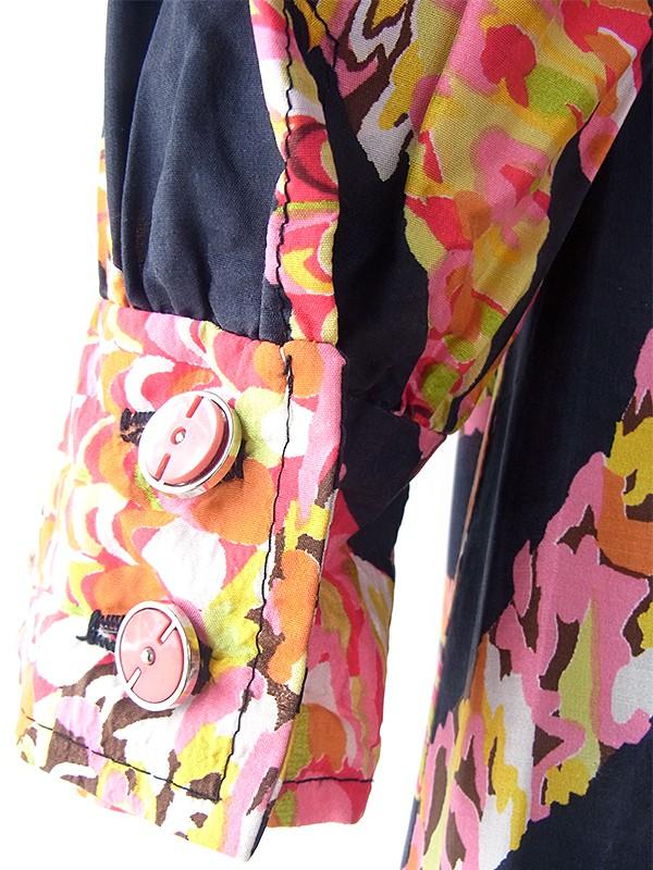 ヨーロッパ古着 ロンドン買い付け 70年代製 ブラック X カラフルレトロ柄 共布ベルト ポケット付き シルク ワンピース 17BS022