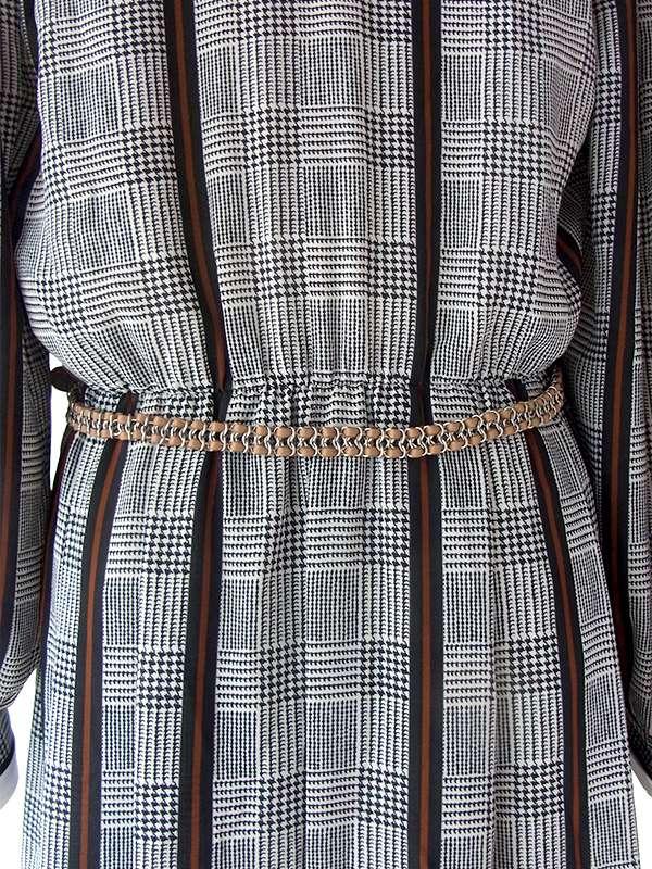 ヨーロッパ古着 ロンドン買い付け 70年代製 白X黒X茶 グレンチェック・ストライプ 襟・袖取り外し可能 ワンピース 17BS114