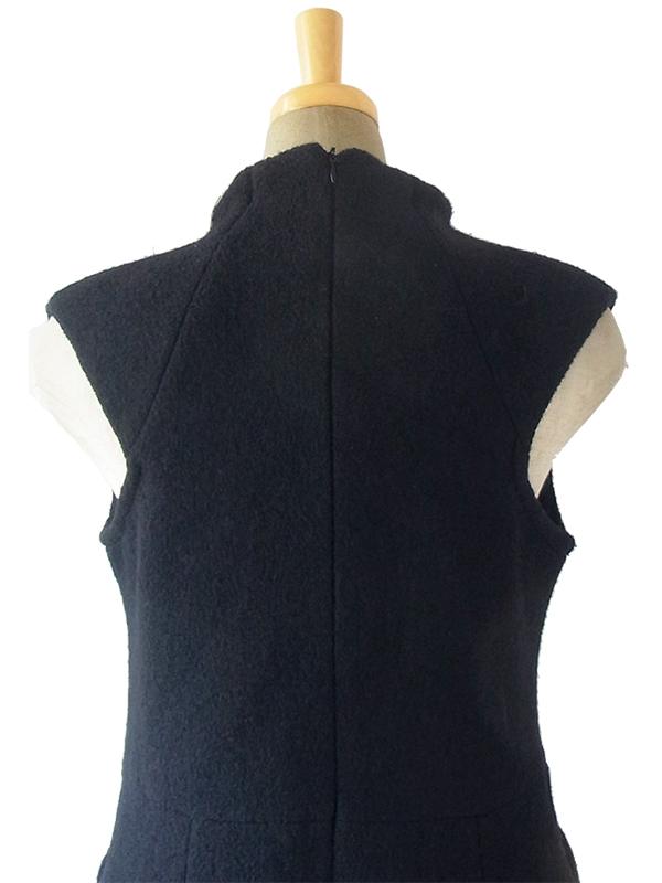 ヨーロッパ古着 スペイン製 ZARA ブラック X モコモコしたウール ポケット付き 美しいシルエット ワンピース 17BS120