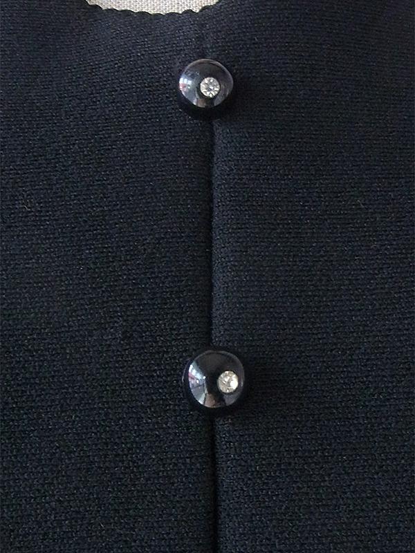 ヨーロッパ古着 ロンドン買い付け 70年代製 ブラック X ブルー・ゴールド・オレンジ ポタニカル柄刺繍 レトロ ワンピース 17BS208