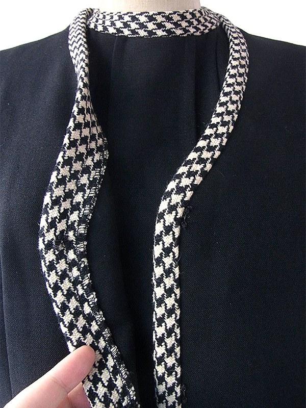 ヨーロッパ古着 ロンドン買い付け 60年代製 モノトーン X 千鳥格子 ウール ジャケット・ワンピース セットアップ 17BS224