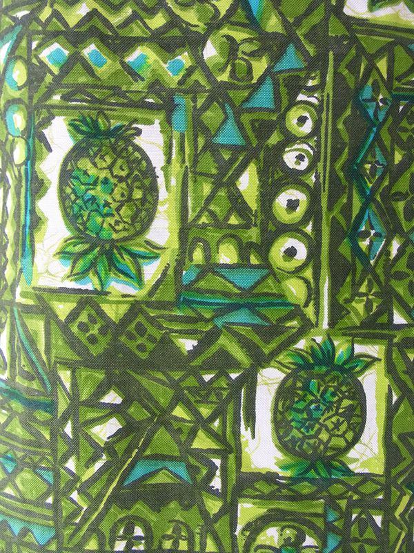 50年代ハワイ製 Royal Hawaiian グリーン パイナップル柄 X ライムグリーン サイドブリーツ ヴィンテージ ワンピース 17CC007