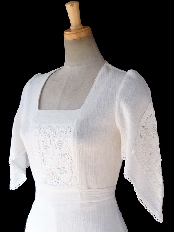 ヨーロッパ古着 フランス買い付け 60年代製 ホワイト 花柄レース アンティーク コットン ワンピース 17FC102