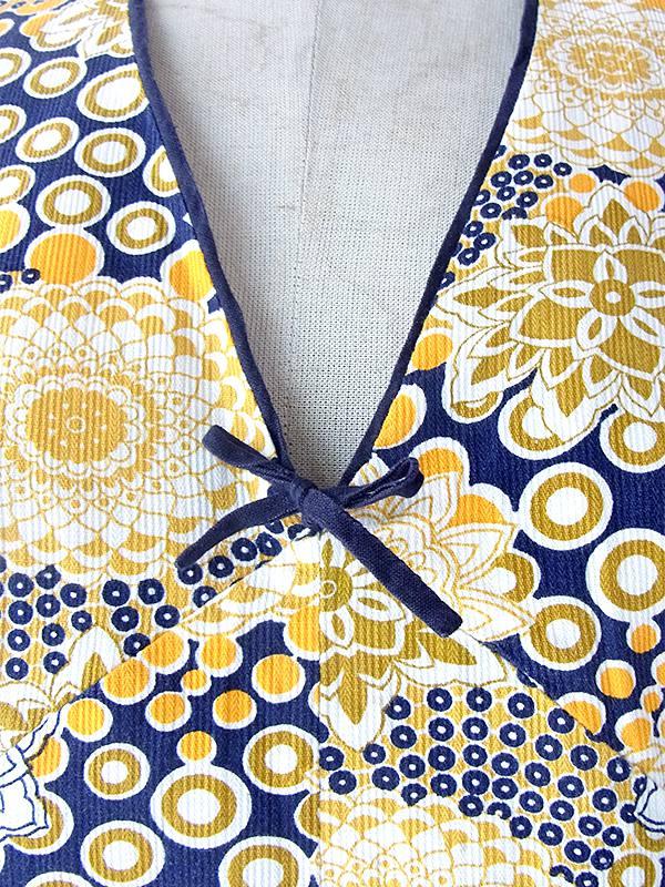 ヨーロッパ古着 フランス買い付け 60年代製 ネイビー X イエロー・ゴールド 花柄・水玉 胸元リボン レトロ ワンピース 17FC107