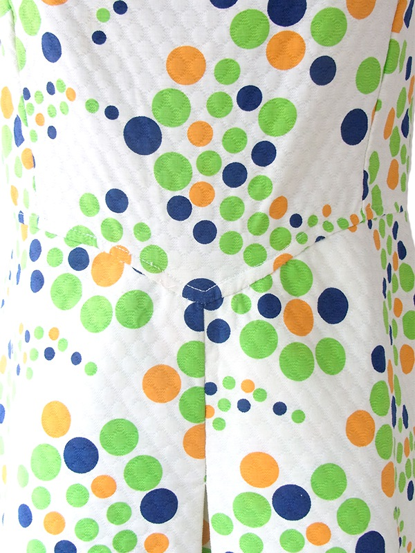 ヨーロッパ古着 フランス買い付け 60年代製 ホワイト X カラフル 水玉 ワッフル地 ワンピース 17FC209
