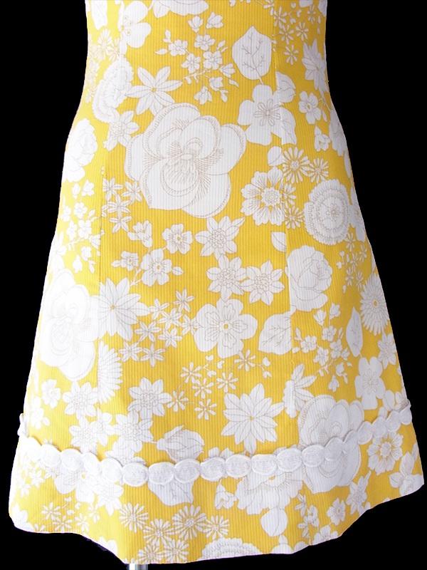 ヨーロッパ古着 フランス買い付け 60年代製 イエロー X ホワイト 花柄プリント テープ装飾 レトロ ワンピース 17FC214