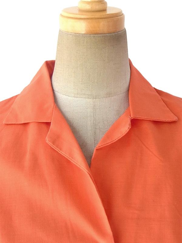 ヨーロッパ古着 フランス買い付け 60年代製 キレイなオレンジ ノースリーブ プリーツ ワンピース 17FC220