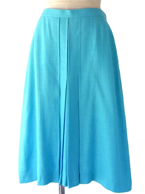 ヨーロッパ古着 フランス買い付け 60年代製 シアンブブルー X インバーテッドプリーツ リネン スカート 17FC231