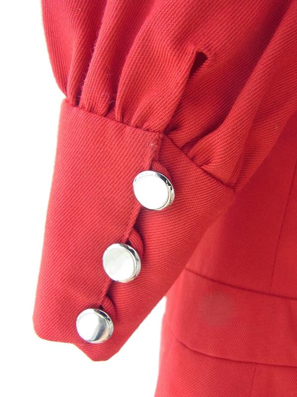 ヨーロッパ古着 フランス買い付け 60年代製 レッド X ドロップウェスト風デザイン メタルボタン ワンピース 17FC410