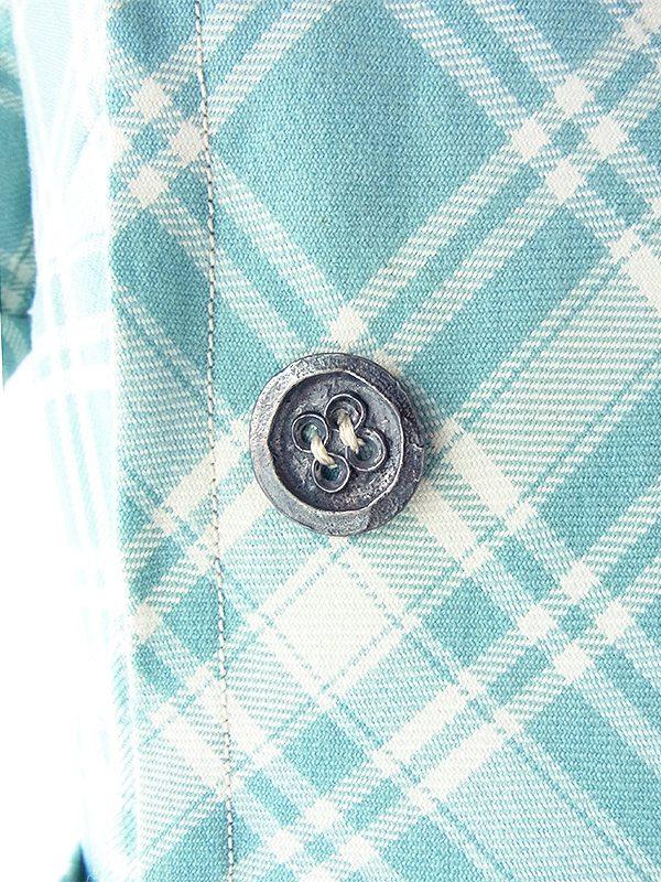 ヨーロッパ古着 フランス買い付け 60年代製 水色 X ホワイト チェック柄 ベルト風デザイン ウール ワンピース 17FC414